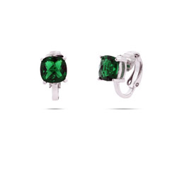 Sparkling Cushion Cut Emerald CZ Clip-On Earrings