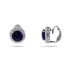 Sapphire CZ Round Cut Sterling Silver Clip-On Earrings