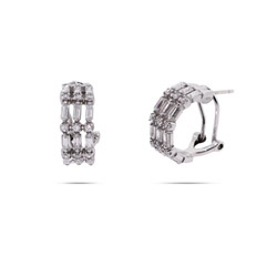 Sterling Silver Baguette Cut CZ Leverback Earrings