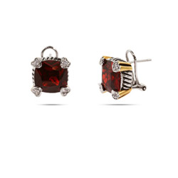 Designer Inspired Cushion Cut Ruby CZ Leverback Earrings