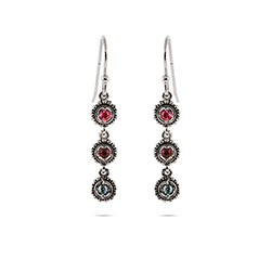 3 Stone Custom Birthstone Sterling Silver Dangle Earrings