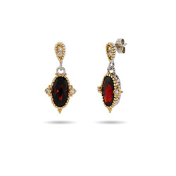 Designer Inspired Oval Cut Vintage Garnet CZ Earrings