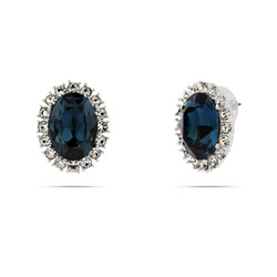 Authentic Royal Regalia Replica Princess Diana Sapphire Swarovski Crystal Earrings