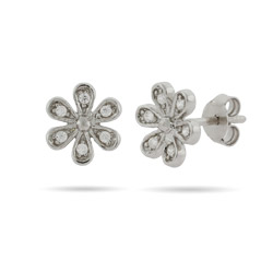 Sterling Silver and CZ Daisy Flower stud earrings