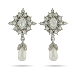 Princess Diana Replica Extravagant Crystal and Pearl Drop Earrings