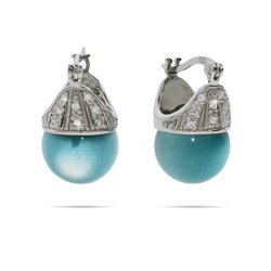 Sterling Silver Blue Cats Eye Crowned Bead Earrings