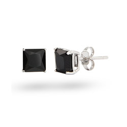 Sterling Silver Princess Cut 8mm Black CZ Studs