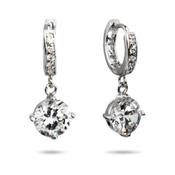 Hannah's Dangling Brilliant Cut CZ Huggy Earrings