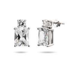 Emerald Cut CZ Sterling Sivler Double Stud Earrings