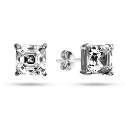 Sterling Silver 7mm Princess Cut CZ Earrings
