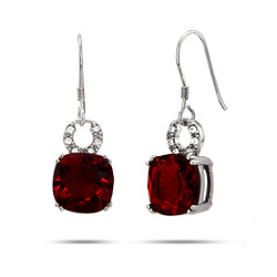 Garnet Cushion Cut CZ Silver Drop Earrings