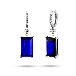 Dazzling Midnight Sapphire Emerald Cut Sterling Silver Dangle Earrings