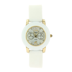 White CZ Bezel Watch with Gold Tones