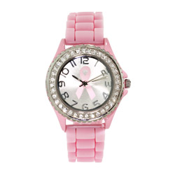 Pink Breast Cancer Jelly Watch with Crystals