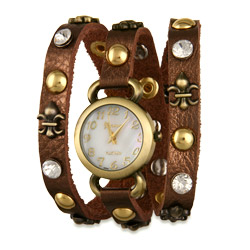 Brown Fleur de Lis Gold and CZ Studded Wrap Watch