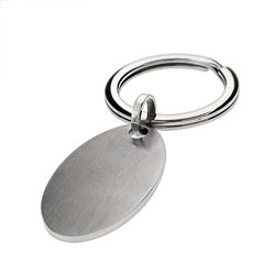 Oval Tag Stainless Steel Engravable Keychain