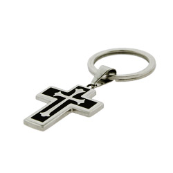 Cross Keychain with Black Enamel