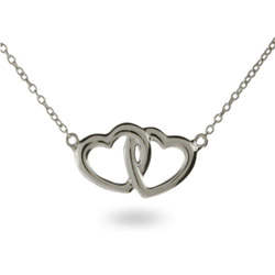 Tiffany Style Sterling Silver Necklace with Joined Hearts