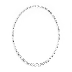Tiffany Style Graduated Bead Sterling Silver Necklace
