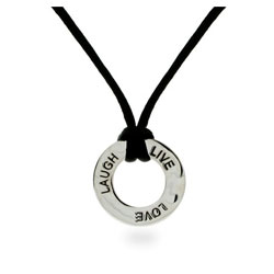 Live, Love, Laugh Sterling Silver Friendship Pendant