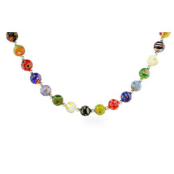 Sterling Silver Millefiori Venetian Glass Round Bead Necklace