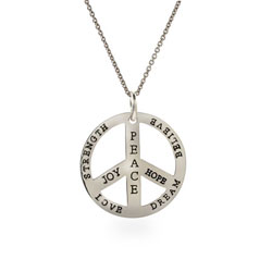 Inspirational Sterling Silver Reversible Peace Sign Pendant