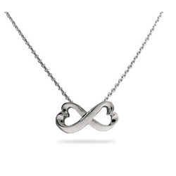 Sterling Silver Infinity Hearts Necklace