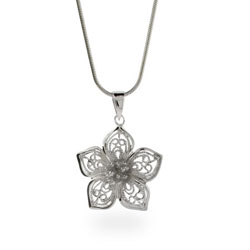 Sterling Silver Vintage Filigree Flower Pendant