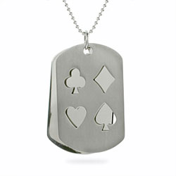 Stainless Steel Stencil Poker Dog Tag Pendant