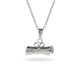 Happy Graduation! Sterling Silver Diploma Pendant