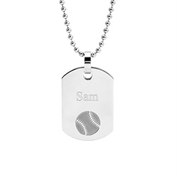 Stainless Steel Engravable Baseball Dog Tag
