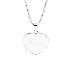 Engravable Puffed Heart Stainless Steel Pendant