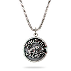 Sterling Silve Aquarius Zodiac Pendant Jan. 20 - Feb. 18