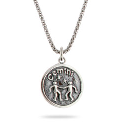 Sterling Silver Gemini Zodiac Pendant May 21 - June 21