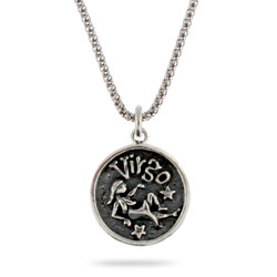 Sterling Silver Virgo Zodiac Pendant Aug. 23 - Sept. 22