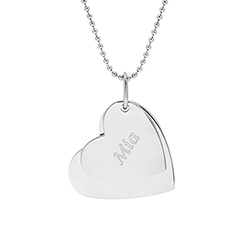 Secret Message Hearts Engravable Stainless Steel Pendant