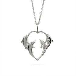 Sterling Silver Loving Dolphins Necklace