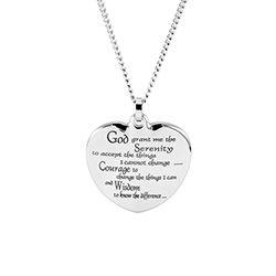 Serenity Prayer Heart Pendant