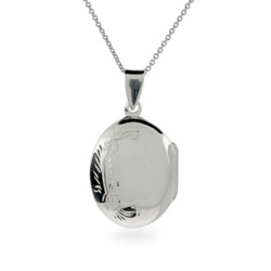 Sterling Silver Floral Engravable Locket Necklace