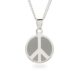 Engravable Stainless Steel Peace Sign Pendant