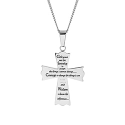 Serenity Prayer Cross Pendant