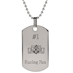 Stainless Steel Engravable Racecar Dog Tag