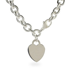 Tiffany Inspired Sterling Silver Heavy Heart Charm ID Necklace