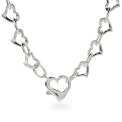Tiffany Inspired Heart Clasp Sterling Silver Link Necklace