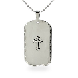 Mens Stainless Steel Engravable Cross Dog Tag Necklace