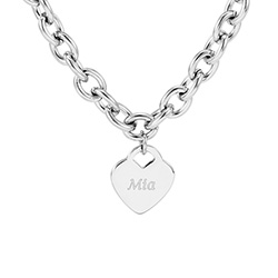Tiffany Inspired Stainless Steel Heart Tag Necklace