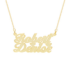 14K Gold Plated Couples Script Name Plate Necklace