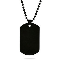 Black Plated Medium Stainless Steel Dog Tag