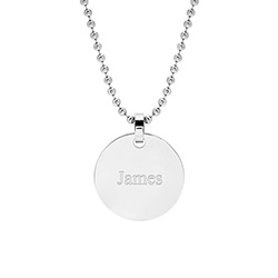 Medium Stainless Steel Round Tag Pendant