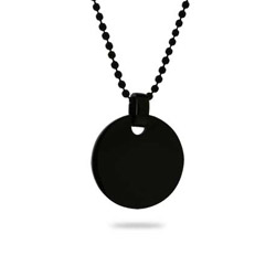 Black Plated Small Stainless Steel Round Tag Pendant